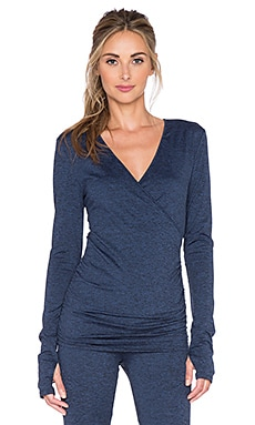 Lanston Sport Crossed Front Thumbhole Top in Navy