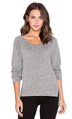 Lanston Sport Asymmetrical Slit Sweatshirt in Heather