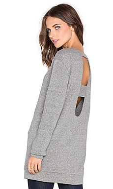 Lanston Sport Deep V Open Back Tunic Sweatshirt in Heather