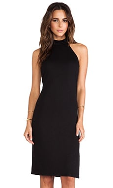 Lanston Mock Neck Midi Dress in Black