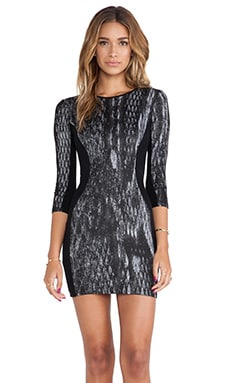 Lanston 3/4 Sleeve Body Con Dress in Black & White