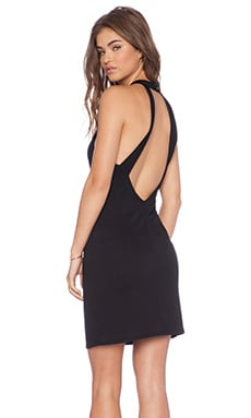 Lanston Open Back Mock Neck Dress in Black