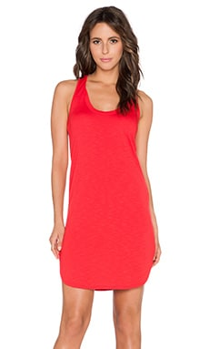 Lanston French Terry Scoop Racerback Mini Dress in Red