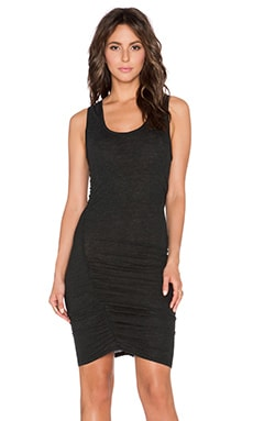 Lanston Tri Blend Gathered Tank Dress in Black