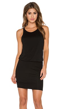 Lanston Rib Cross Back Dress in Black