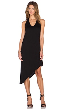 Lanston French Terry Asymmetrical Dress in Black