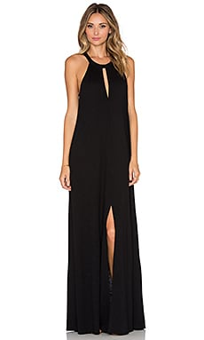 Slit Halterneck Maxi Dress in Black