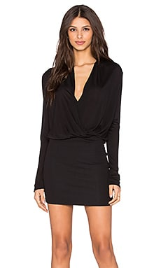 Surplice Long Sleeve Dress in Black