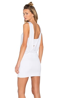 Lanston Drape Maxi Mini Dress in White