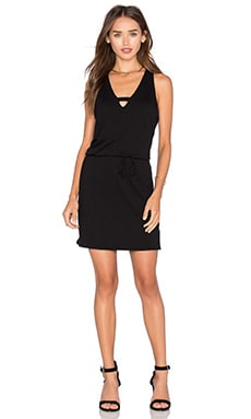 Lanston Cross V Mini Dress in Black
