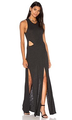 Lanston Crossover Cut Out Maxi Dress in Black