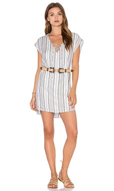 Lace Up Mini Dress in Harbor
