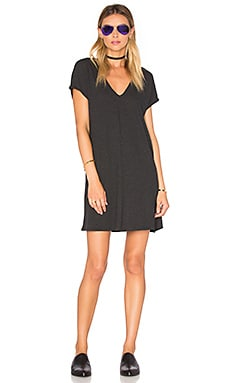 Lanston V Neck Mini Dress in Black