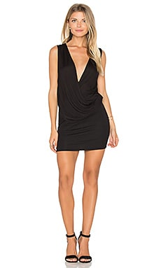 Lanston Surplice Mini Dress in Black