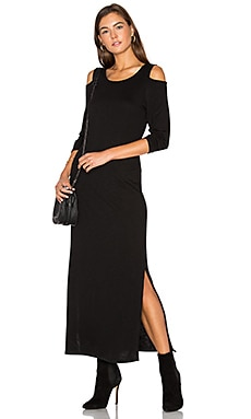Cutout Shoulder Ankle Dress en Noir