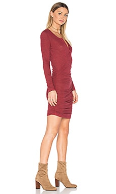 Ruched Henley Dress in Red