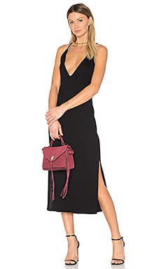 Slit Cami Midi Dress in Black