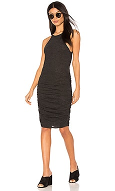 Ruched Halter Dress in Black