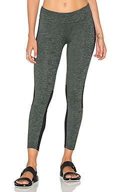 Lanston SPORT Cropped Mesh Panel Legging in Military