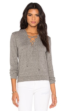 Lace Up Hoodie in Heather