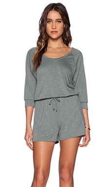 Lanston Scoop Neck Romper in Moss