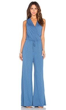 Surplice Jumpsuit in Denim