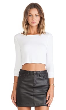 Lanston Cropped Boatneck Long Sleeve in White