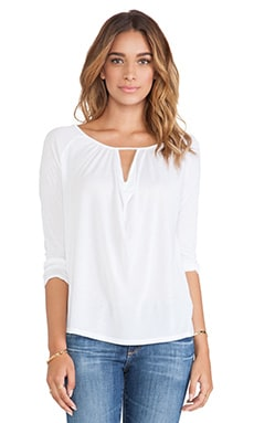 Lanston Drape Key Hole Long Sleeve in White
