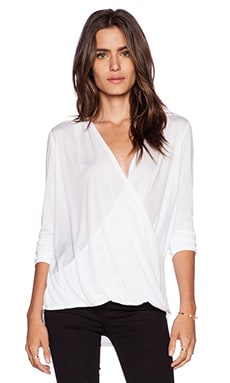 Lanston Long Sleeve Surplice in White