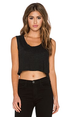 Lanston Tri Blend Box Crop Top in Black