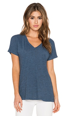 Lanston Tri Blend Oversized V Neck Tee in Chambray