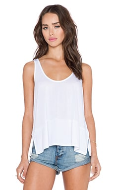 Lanston Rib Crop Tank in White