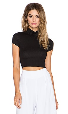 Lanston Cropped Turtleneck in Black