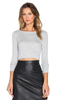 Cropped Boatneck Long Sleeve Top in Heather
