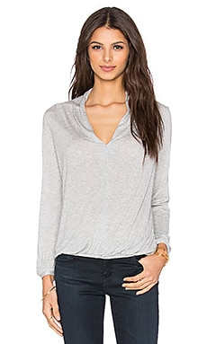 Deep V Long Sleeve Top en Heather