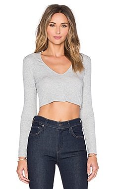 Deep V Long Sleeve Crop Top in Heather