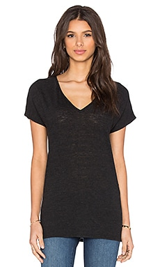 Lanston Oversized V Neck Tee in Black