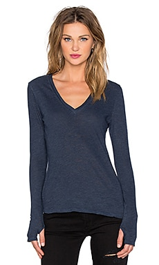 Deep V Thumbhole Top in Navy