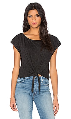 Cropped Tie Tee in Black