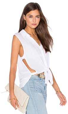 Button Down Cut Out Tank in White