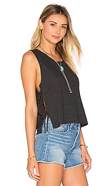 Side Tie Crop Tank in Black