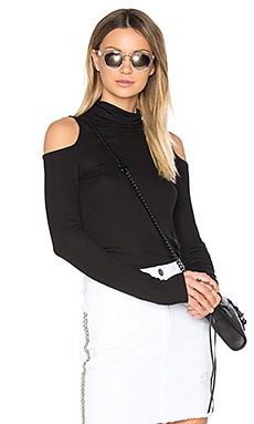 Cold Shoulder Turtleneck Top in Black