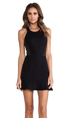 LaPina by David Helwani by David Helwani Nathalie Dress in Black/Black Leather