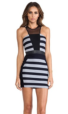 LaPina by David Helwani Tamara Dress in Navy & White Leather