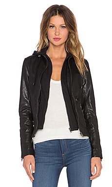 LaMarque Arlette Leather Jacket w/ Hoodie in Black