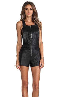LaMarque Lola Leather Overalls in Black