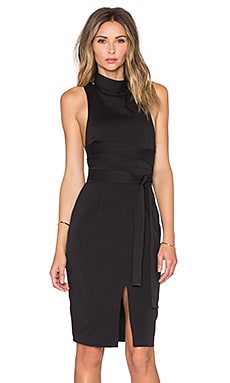 Lavish Alice Cross Strap High Neck Midi Dress in Black