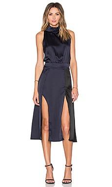 Lavish Alice Colorblocked High Neck Midi Dress in Black & Navy