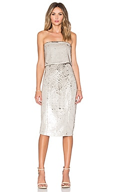 Lavish Alice Sequin Bandeau Cropped Midi Dress in Pearlised & Gold