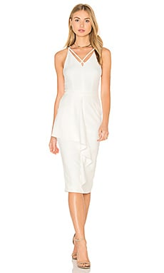 Deep Plunge Strap & Frill Detail Midi Dress in White